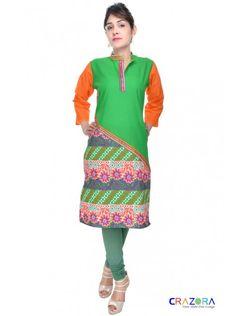 Designer Kurtis Only At Rs.299  https://www.crazora.com/kurtis/glamus-green-cotton-kurti-9941.html