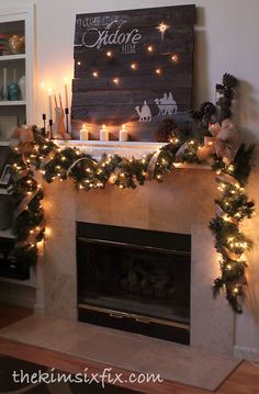 """O Come Let Us Adore Him"" Rustic Christmas Mantle.. with reclaimed pallet wood sign and burlap garland."