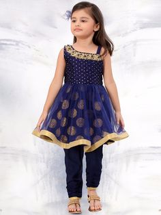Navy Party Wear Net Anarkali Salwar Suit