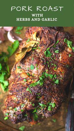 Aromatic Spice Rubbed Pork Roast Stuffed with Herbs and Garlic (Buzhenina) - Vikalinka Grilled Pork Roast, Bbq Pork Roast, Pork Roast Recipes, Lamb Recipes, Meat Recipes, Gourmet Recipes, Cooking Recipes, Healthy Recipes, Stuffed Pork Roast