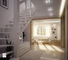 Projekt Orlik - zdjęcie od MG Projekt Pracownia Architektoniczna Architecture Visualization, Alcove, Bathtub, Stairs, Bathroom, Inspiration, Design, Home Decor, Interiors