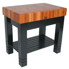 This John Boos Bloc de Foyer is a perfect work area. The apron drawer is a great storage space for utensils or other items you want  to keep close at hand. This butcher block can be used as a stand alone island  or for additional food preparation space.