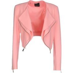 Pinko Blazer ($160) ❤ liked on Polyvore featuring outerwear, jackets, blazers, accent, flowers, salmon pink, logo jackets, blazer jacket, pinko jacket and red blazer jacket