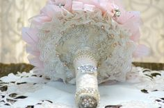 Blush Gatsby Fabric Flower Brooch Bouquet by jcmArtandDesign
