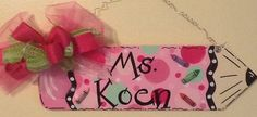 Teacher pencil name sign by Angelascreativecraft on Etsy