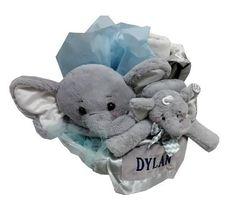 Personalized twin gift bashful beige bunny jellycats twins baby boy elephant gift basket negle Images