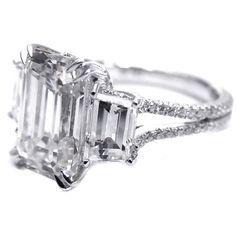 Fancy - Engagement Ring - Three Stone Emerald cut Diamond Vintage Style Split Band Engagement Ring For Large Diamonds