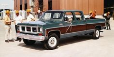 1973 Chevrolet Sierra two tone brown / green color truck