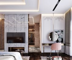 A spectacular round hanging mirror is suspended in front of stunning boiserie and a floral art print for a chic layered look. Home Room Design, Room Design, Interior, Decor Interior Design, Luxurious Bedrooms, Home Decor, Interior Design, Luxury Bedroom Master, Minimalist Dressing Tables
