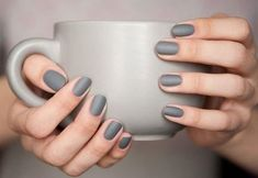 A manicure is a cosmetic elegance therapy for the finger nails and hands. A manicure could deal with just the hands, just the nails, or Grey Matte Nails, Grey Nail Polish, Nail Polish Hacks, Nail Hacks, Essie Polish, Nail Polishes, Gray Nail Art, Mat Nail Polish, Slate Nails