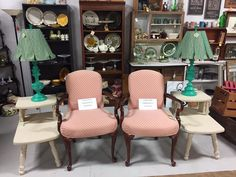 Only at the Bear -- Brass Bear Antiques 2652 Valleydale Rd. 35244 -- 205-566-0601 -- Vendor AG6 $299 pair of Fairfield Chairs -- Aisle E