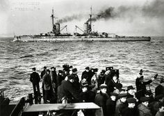 A tragic time for lovers of awesome warships: SMS Kaiserin heading into Scapa Flow (and eventual suicide), November, 1918. Kaiserin fired 16...