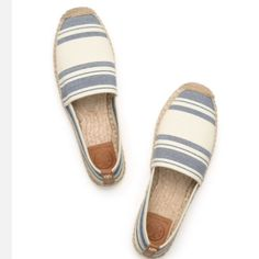 Tory Burch Espadrilles These navy and ivory Tory Burch espadrilles are the staple to any outfit. They are comfy and stretchy. The back of the shoe contains a gold Tory Burch emblem. In perfect condition and never worn. Size 6. Purchased for $170. This style is completely sold out everywhere. Tory Burch Shoes