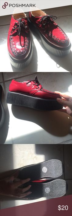 Perfect condition red creepers These shoes were given to me and never worn. Super cute. A nice red color. No scratches of scuffs. Only posting here for views! Dr. Martens Shoes Platforms