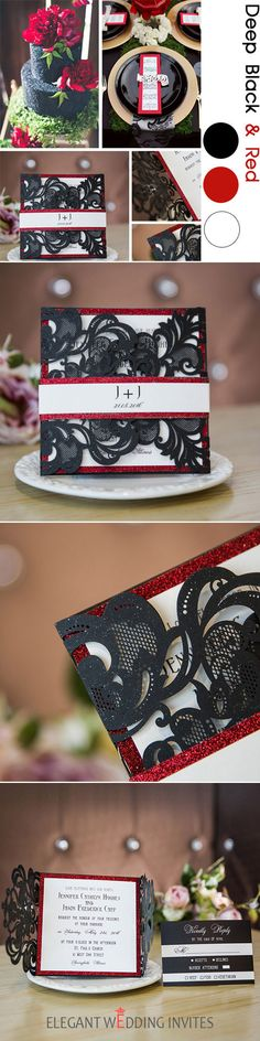 as low as $2.29 - luxurious black laser cut wedding invites with glittery bottom cards and bands EWWS135