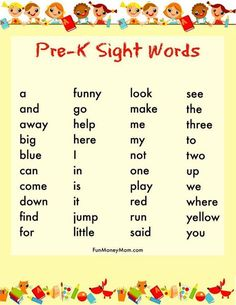 How To Get Your Child Ready For Kindergarten: Sight Words for Preschool activities preschool at home Pre K Sight Words, Preschool Sight Words, Preschool At Home, Preschool Classroom, Preschool Kindergarten, Kindergarten Sight Words List, Preschool Crafts, Learn To Read Kindergarten, Preschool Ideas