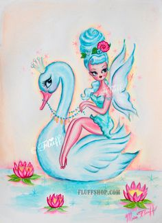 Candy Blue Bouffant Fairy Riding Blue Swan  Original Painting by Miss Fluff/ Claudette Barjoud on Etsy!
