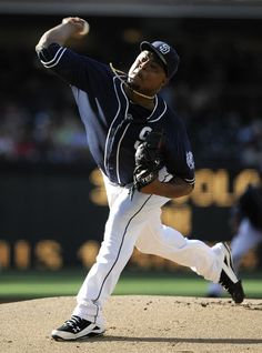 Game #110 8/4/12: Edinson Volquez #37 of the San Diego Padres pitches during the first inning of a baseball game against the New York Mets at Petco Park on August 4, 2012 in San Diego, California. (Photo by Denis Poroy/Getty Images)