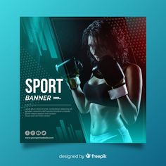 Flat sport banner with photo Free Vector - cakerecipespins. Event Poster Template, Banner Template, Sports Graphic Design, Graphic Design Posters, Flat Design Poster, Web Design, Flyer Design, Cosmetic Design, Sports Flyer