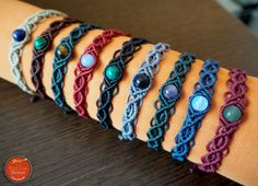 Boho macrame bracelet with gemstone beaded by RedFoxStories