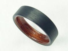 Carbon Fiber and African Rosewood, Mens Wedding Ring - Comfort fit, Bentwood Ring - The African Rose Ring