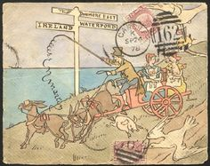 1878 cover front to Waterford, Ireland franked ½d Pl.14 tied Cardiff duplex, bears an all over full colour hand painted illustration of horses & cart transporting people, another ½d (Pl. ?) is affixed to base,