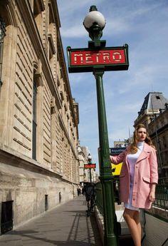 Fashion shot against the metro sign in Paris. Bringing Back Fashion Shoot, Broadway Shows, Bring It On, Sign, Paris, Montmartre Paris, Signs, Paris France, Board