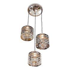 "industrial italian nickel plated steel chandelier - shade dimension  8.5"" H X 9"" dia  21.6cm H X 22.9cm dia - total drop  42.5"" H  108.0cm H -  1900 usd"