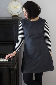 Tilly & the Buttons grey Francoise Shift Dress combined with breton stripes by Tweed & Greet