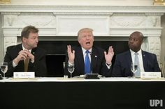 US President Donald J. Trump (C) delivers remarks on health care and Republicans' inability thus far to replace or repeal the Affordable…