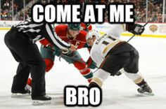 Mikko Koivu faces his brother Saku Koivu. Minnesota Wild and Anaheim Ducks