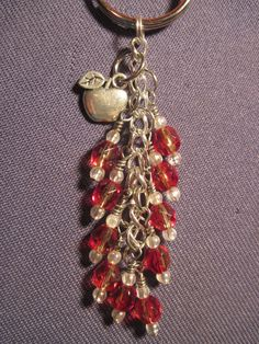 Red Fire Polished Glass Beads Mini Purse Charm / Key Chain by FoxyFundanglesByCori, $5.00