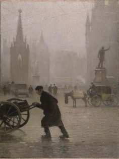 Albert Square Manchester 1910, Valette - Pierre Adolphe Valette - Artist depicts space using relative size
