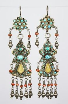 Bukharan Earrings  Uzbekistan. A superb and rare pair of Uzbek earrings with Persian turquoise, coral and colored glass. Jewish silversmiths were noted for the production of exquisite jewelry in many of the sultanates of Uzbekistan. These date from the late 19th century.