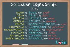 """FALSE FRIENDS (fałszywi przyjaciele) to słówka, które brzmią znajomo i przypominają nam polskie terminy, ale w angielskim mają zupełnie inne znaczenie. Użycie niewłaściwego odpowiednika może doprowadzić do niezrozumienia lub, co gorsza, do nieporozumienia. Tutaj zestaw nr 1 (1-10). Sprawdź, czy poprawnie używasz angielskich odpowiedników tych 10 polskich słów. Więcej """"fałszywych przyjaciół"""" na www.loip.pl - Loip Angielski i Polski Online English Words, English Lessons, Learn English, English Grammar Tenses, English Vocabulary, Education English, Teaching English, Polish Language, False Friends"""