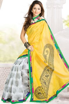 Maize Yellow and Off-white Jute Patola Embroidered Party and Festival Saree