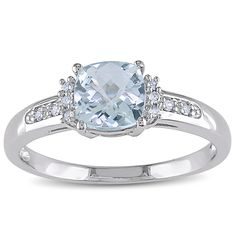 <li>Cushion checkerboard-cut aquamarine and white diamond ring</li><li>10-karat white gold jewelry</li><li><a href='http://www.overstock.com/downloads/pdf/2010_RingSizing.pdf'><span class='links'>Click here for ring sizing guide</span></a></li>