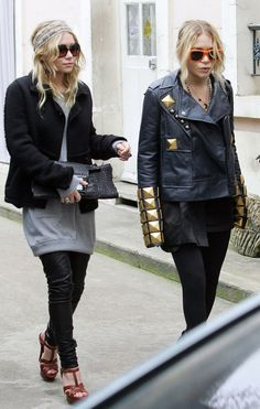 Ashley and Mary Kate Olsen in Paris.  YSL tribute shoes, Chanel sunglasses, Givenchy studded leather jacket.