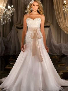 Silk Organza A-line Sweetheart Beaded Wedding Dress