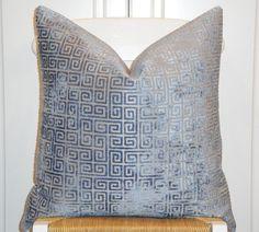Velvet - Decorative Pillow Cover - 20 x 20 - Accent Pillow - Throw Pillow - Blue - Geometric - Greek Key - Sofa Pillow. $50.00, via Etsy.