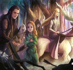 "The Hobbit ~ Prince Legolas Greenleaf of Mirkwood on FB ~ ""I'll take care of you."" This is how Tauriel came to live in Mirkwood. Legolas And Thranduil, Aragorn, Lotr Elves, John Howe, O Hobbit, Hobbit Art, Fanart, Jrr Tolkien, The Elf"