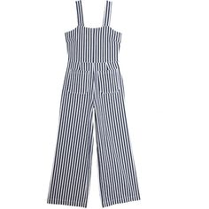 Navy Stripe Sailor Jumpsuit ($109) ❤ liked on Polyvore featuring jumpsuits, fitted jumpsuit, cotton jumpsuit, jump suit, zipper jumpsuit and navy blue jumpsuit