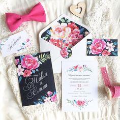 Купить Яркие акварельные цветочные свадебные приглашения Новая хохлома - пригласительный, приглашение на свадьбу