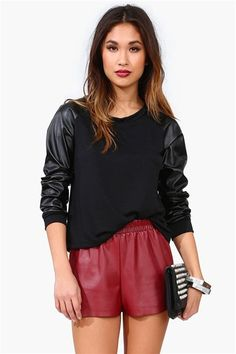 Leather Sweatshirt in Black