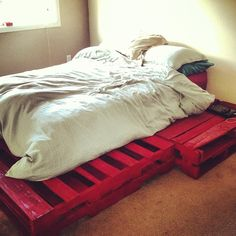 My poppit is awesome!!! Finally a bed frame!! #homemade #palletbed #Padgram