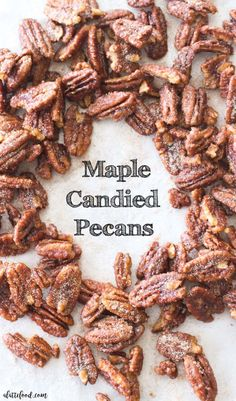 These easy maple candied pecans are made with maple syrup, brown sugar, white sugar, and cinnamon! Plus, these homemade cinnamon sugared nuts are ready in less than 15 minutes. Homemade candied pecans for the fall dessert win. Maple Syrup Recipes, Pecan Recipes, Candy Recipes, Cooking Recipes, Maple Syrup Candy Recipe, Aloo Recipes, Milk Recipes, Cream Recipes, Copycat Recipes