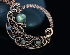 Labradorite necklace half moon pendant wire от OrioleStudio