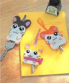 !!!!♥ Feltro-Aholic ♥ Moldes e pap em feltro e feltro estampado!: Moldes Japoneses - Capa para chaves e acessórios de cabelo - Hamtaro!