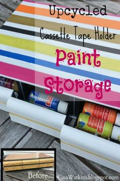 Do you remember cassette tapes and their holders? If you find one or still have one this is a great use for it ~ upcycle it to hold your craft paints ~ genius!