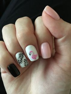 pinapple and flamingo nails;pinapple and flamingo nails; Colorful Nail Designs, Nail Designs Spring, Cool Nail Designs, Tropical Nail Designs, Nail Art Tropical, Nail Art Rosa, Short Nails Art, Spring Nail Art, Nail Summer